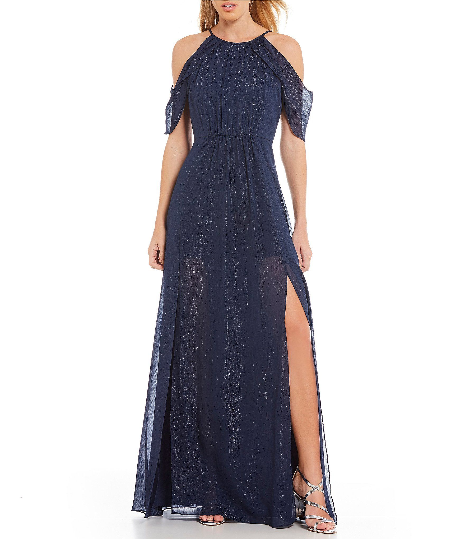 7419224666d H Halston Cold Shoulder Lurex Chiffon Gown  Dillards