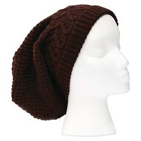 Women's Sylvia Alexander Slouchy Textured Knit Beanie Hat