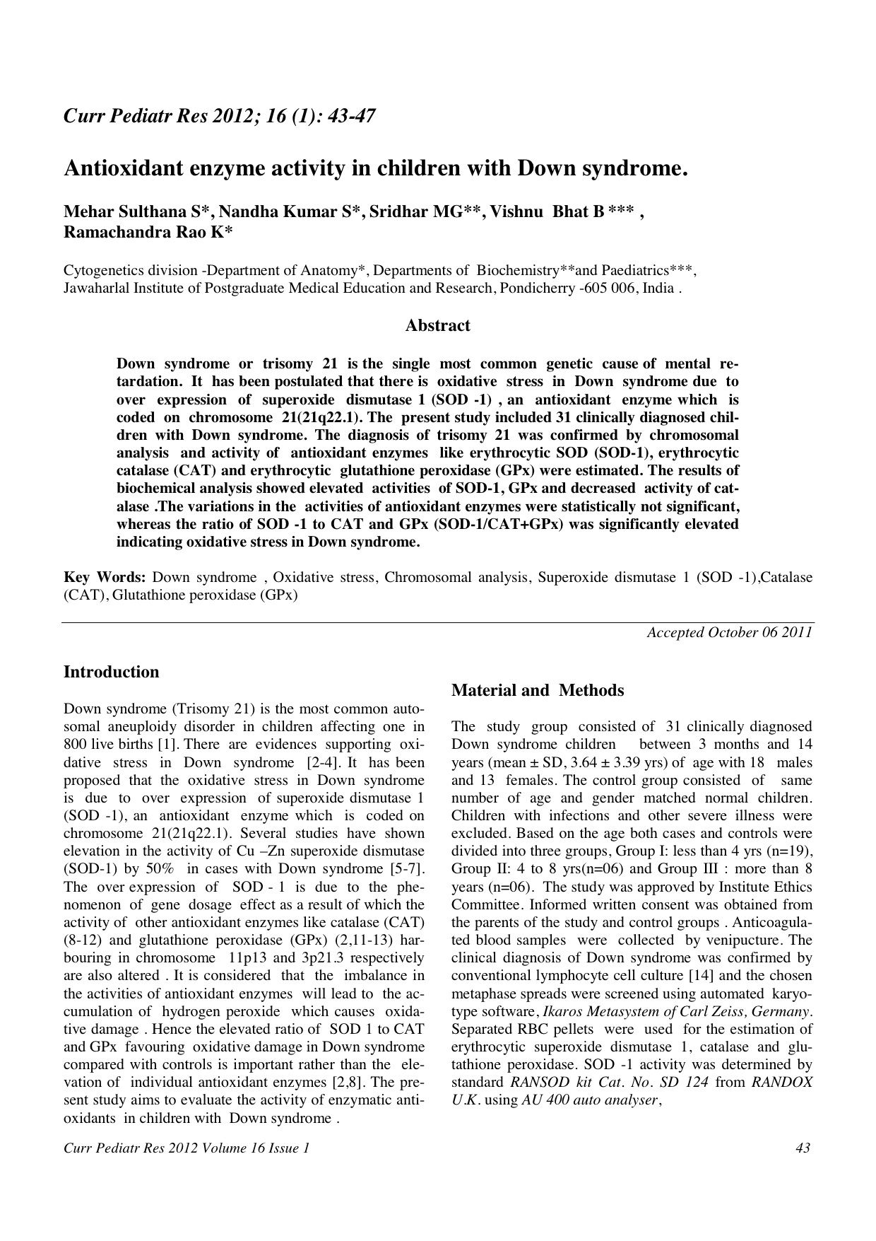 Antioxidant Enzyme Activity In Children With Down Syndrome Down