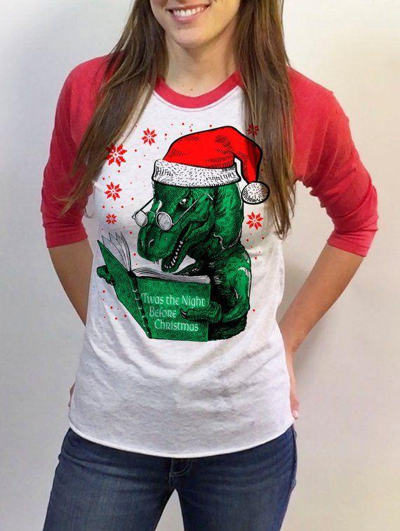 Night Before Christmas - womens Christmas Sweater dinosaur design