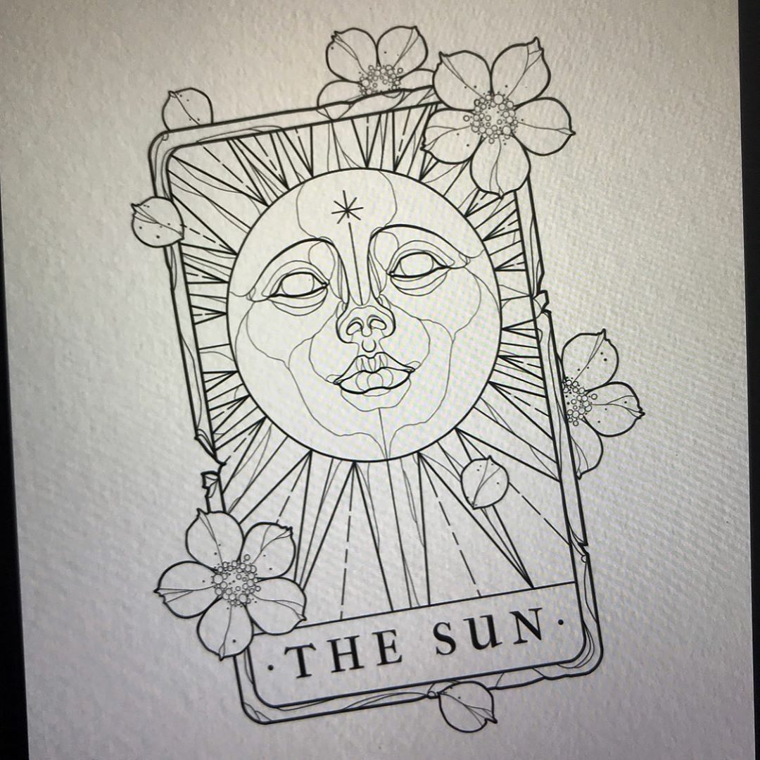 """Jacob Lennon on Instagram: """"✽ The Sun Tarot ✽ - I still have 15th-16th August available at my guest spot with Last Chance Saloon! #neotraditional #neotraditionalart…"""""""