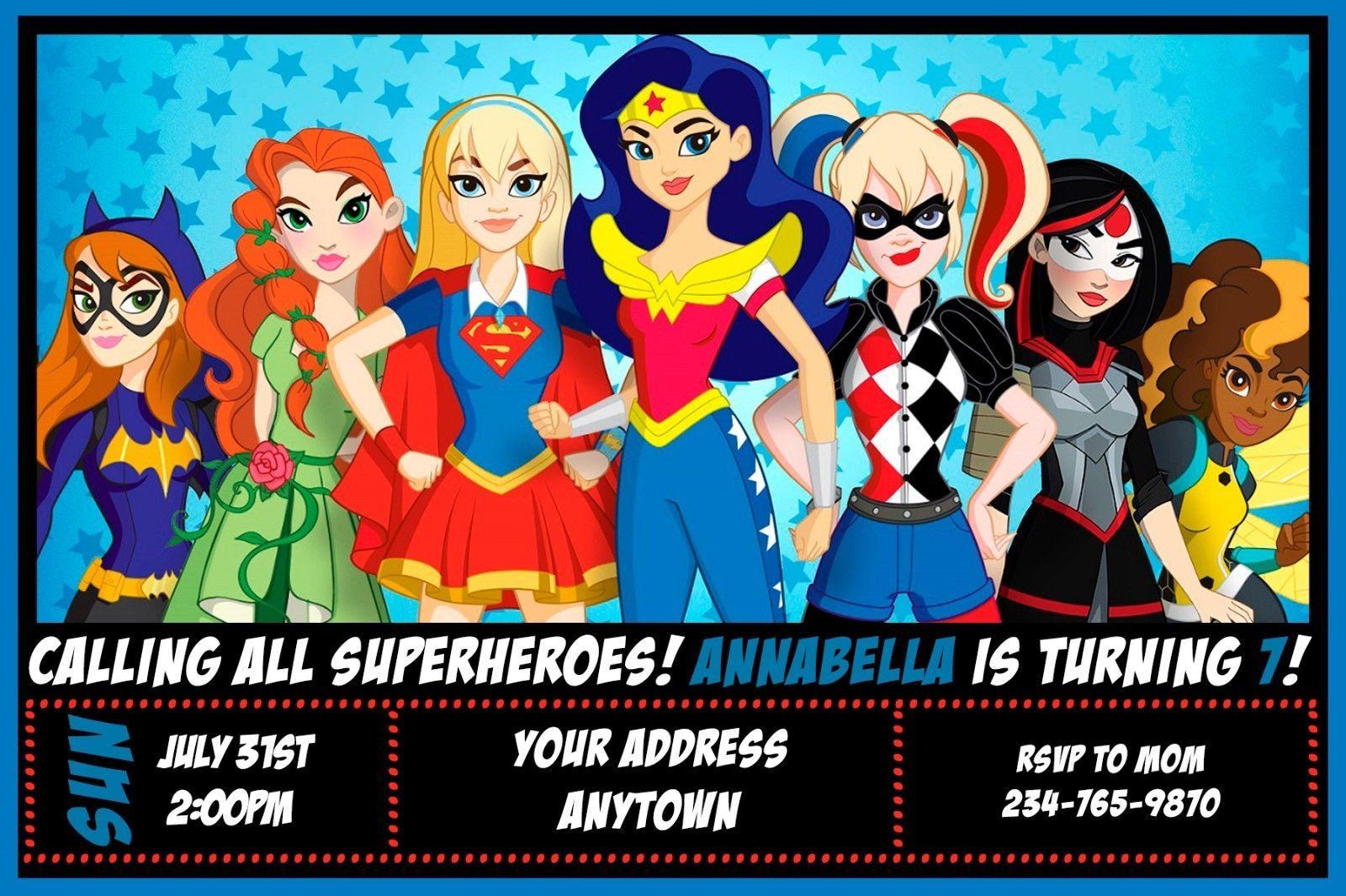 7 99 Dc Super Hero Girls Birthday Party Invitations