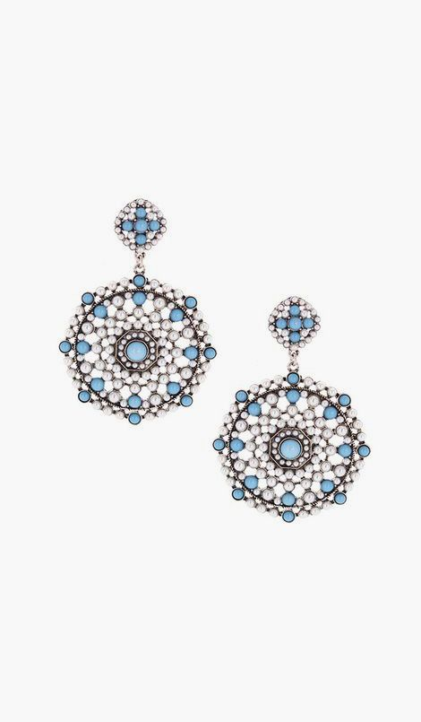 Olivia Welles Jewelry Silver & Blue Textured Circle Drop Earrings