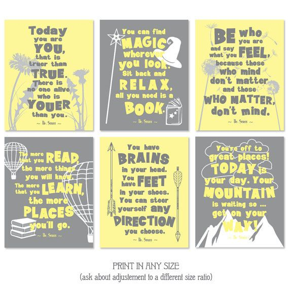 motivational kids room quote print set dr seuss quotes yellow and ...