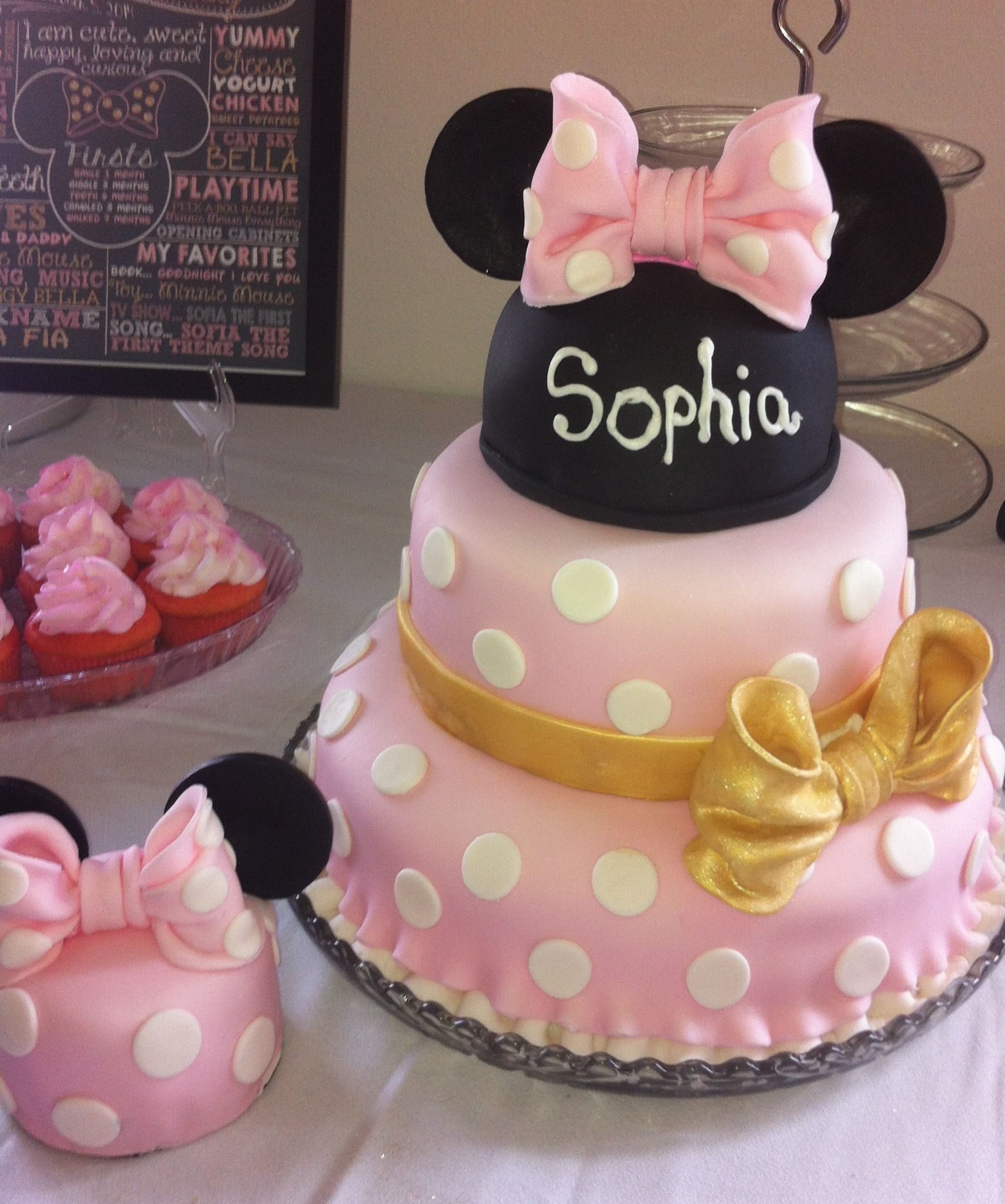 Pink And Gold Minnie Mouse Dress Cake Make For Granddaughter S 1st