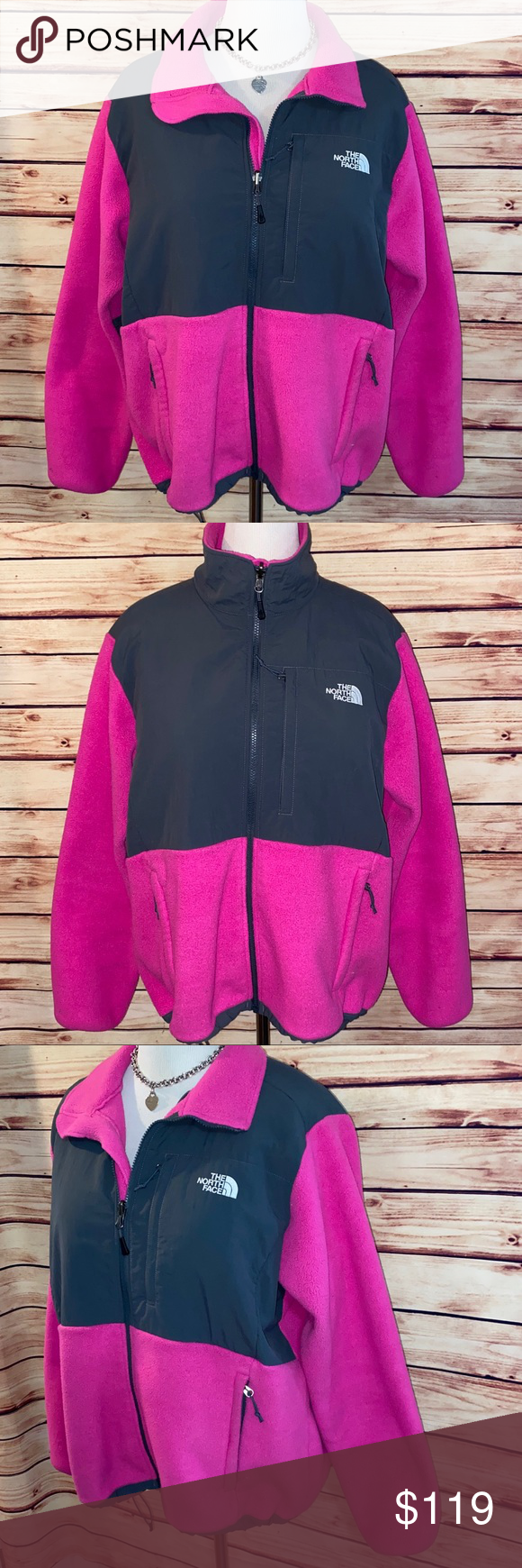 The North Face Fuchsia Charcoal Denali Jacket The North Face Jackets Classic Jacket [ 1740 x 580 Pixel ]