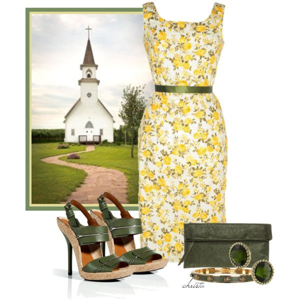 A fashion look from March 2013 featuring vintage style dresses, green sandals and leather purse. Browse and shop related looks.