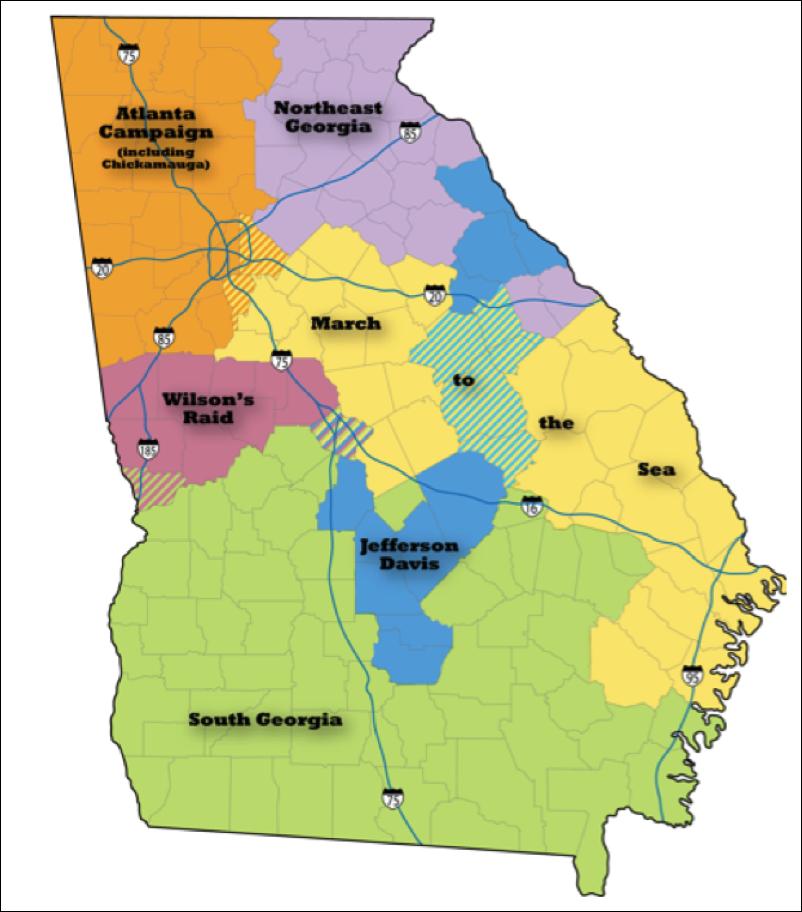 Civil War Trails In Georgia At Civilwarheritagetrailsorg Driving - Us-map-civil-war-era