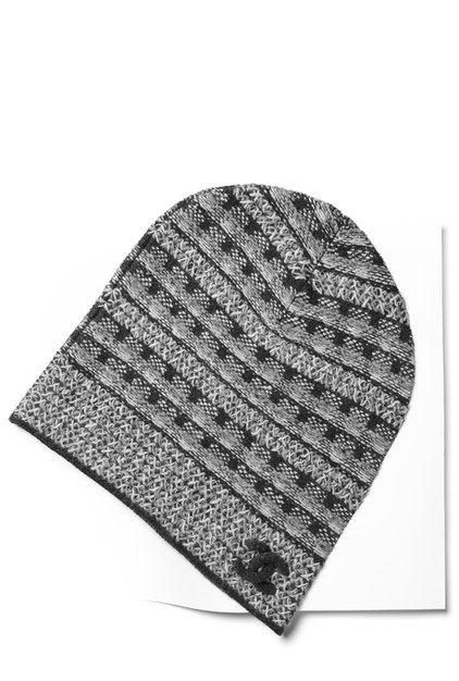 Bonnet, cachemire \u0026 fibre métallisée,gris , CHANEL