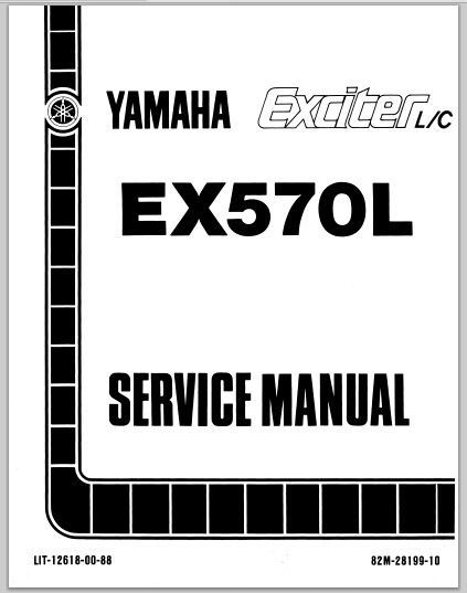 1987 Yamaha EX570L Exciter L C Snowmoblile Workshop Service Repair Manual Download This Is The