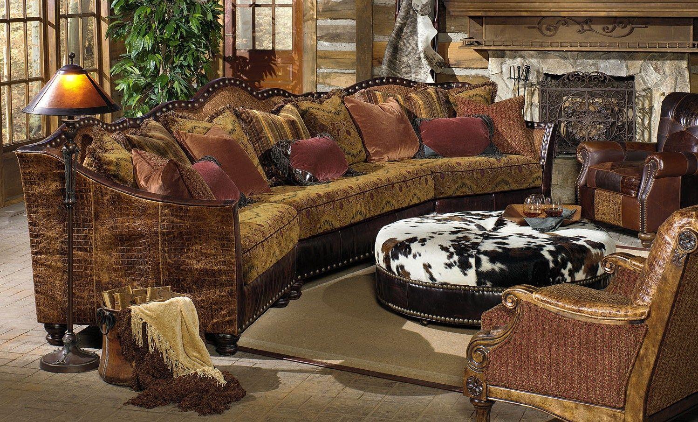 01 Western Furniture Custom Sectional Sofa Chairs Hair Hide Ottoman
