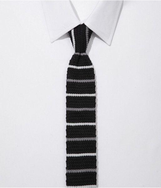 e806cb6ac0ef Mens Skinny Knit Tie - Horizontal Stripe Pitch Black | Ties | Knit ...