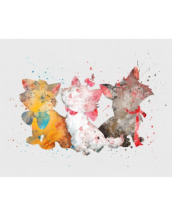 Big Canvas Art Modern Watercolor Abstract Ink Splash Big: Aristocats Watercolor Art Print