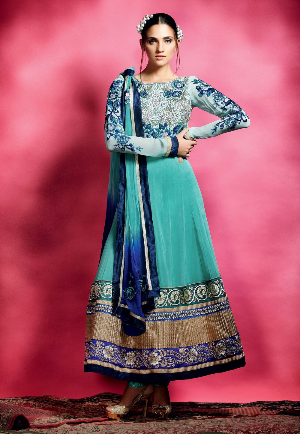 Aqua blue faux georgette semistitched churidar anarkali kameez