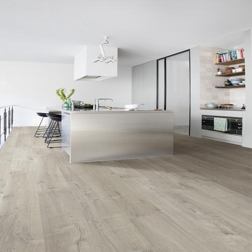 Quick Step Impressive Soft Oak Grey Im3558 Waterproof Laminate Flooring Laminate Flooring In Kitchen Inexpensive Flooring Kitchen Floor Inspiration