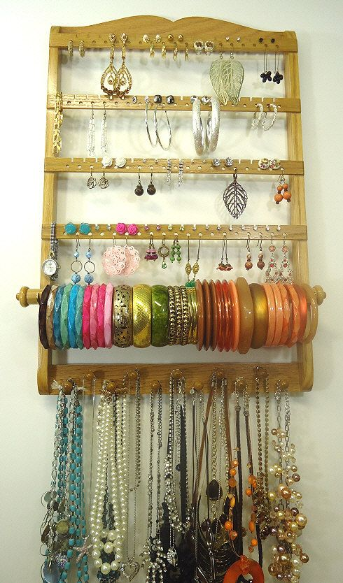 Jewelry Organizer Bangle Bracelet Rod Holder Honey Oak Wood Hanging Holds 72 144 Earring Pairs Has 11 Necklace Display Pegs