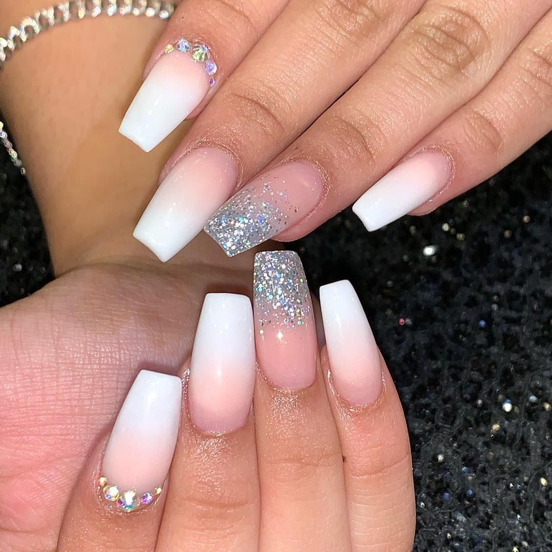 Serenity Nails Pedispa On Instagram Valentine Dipping French Ombre Glitter Crystals Nail Ombre Nail Designs Nail Designs Valentines Trendy Nail Design