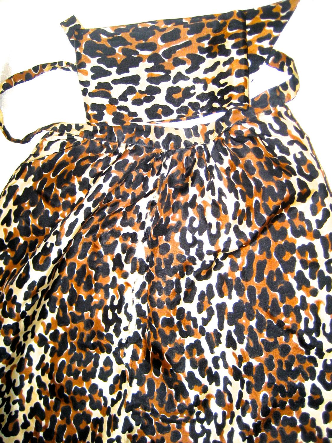 Vintage 40s 50s leopard print silky halter top with neck scarf Pin up Rockabilly by sweetalicelovesyou on Etsy