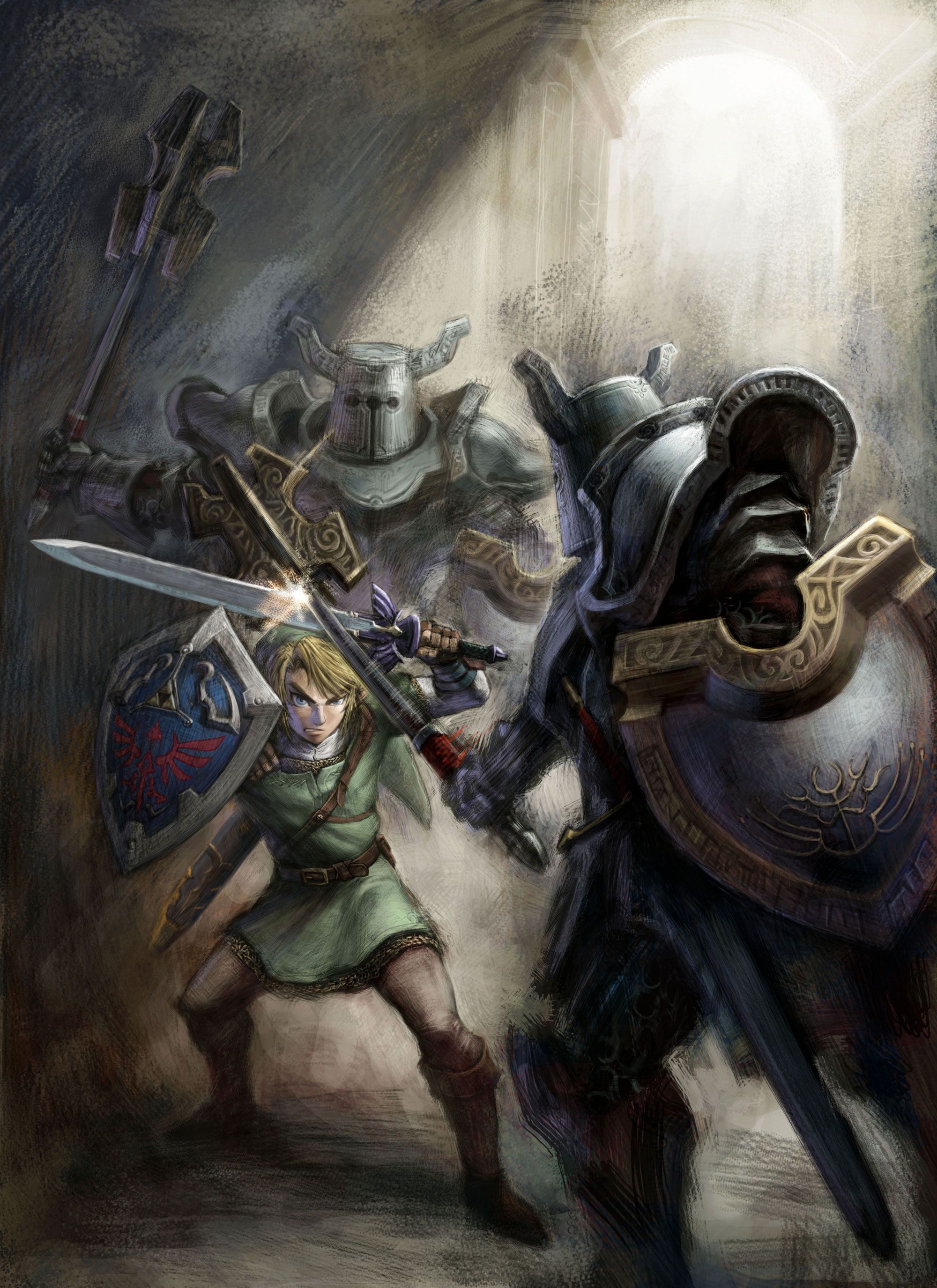 The Legend Of Zelda Twilight Princess Link And Darknuts Legend Of Zelda Characters Zelda Art Legend Of Zelda