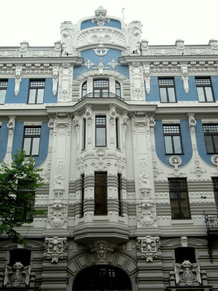 considered to be the most beautiful art nouveau building in Riga, Latvia