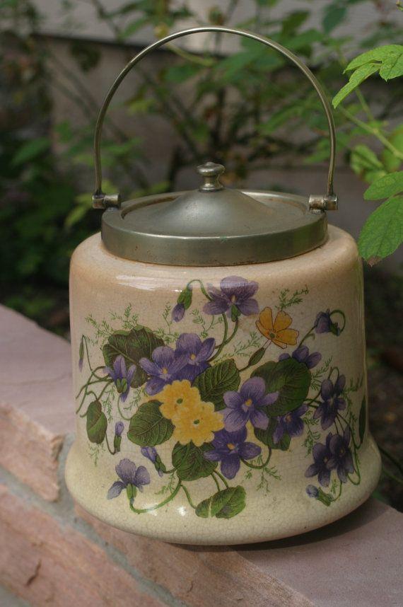 Antique Bristol England Biscuit Jar