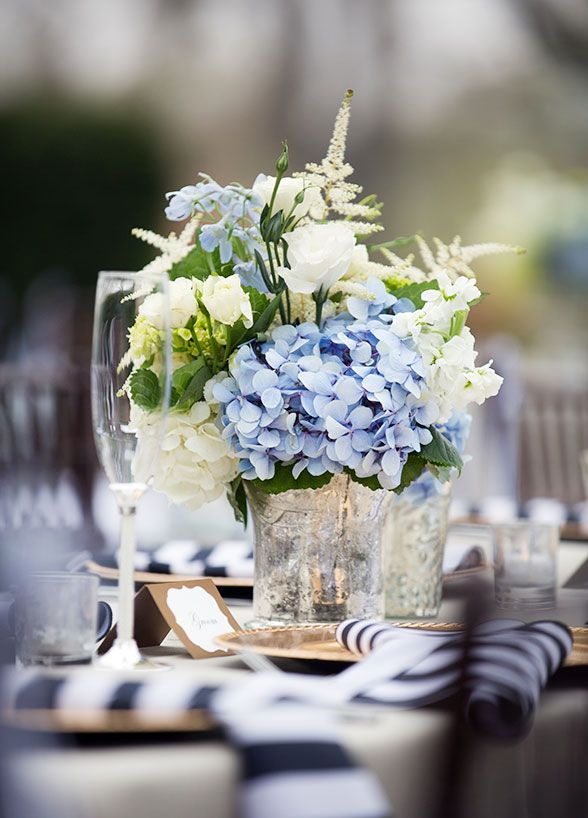 The combination of fresh blue hydrangeas and white flowers