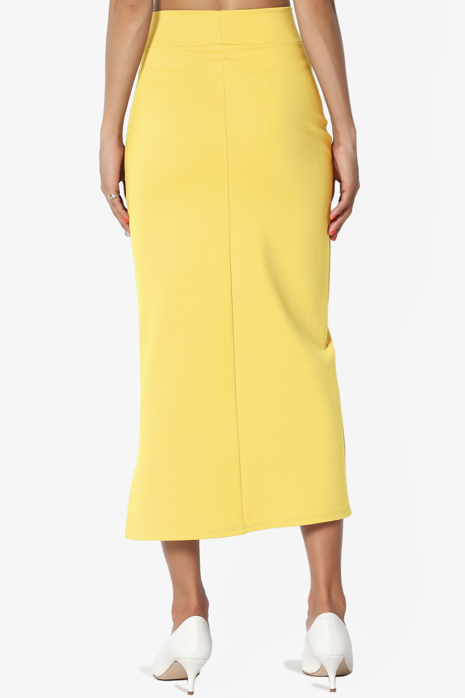 c1b5c11e252a75 TheMogan Women's S~3X Side Slit Ponte Knit High Waist Mid Calf Long Pencil  Skirt #Ad #Slit, #ad, #Ponte, #Knit