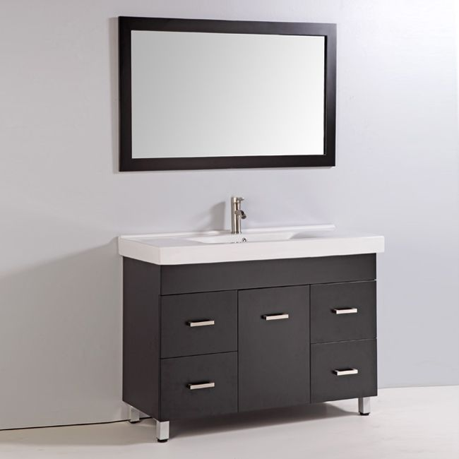 Legion Furniture WA3748E 48-in Solid Wood Bathroom Vanity with Sink, Mirror, and Faucet | ATG Stores
