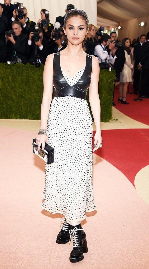 WHO: Selena Gomez WEAR: Louis Vuitton dress.