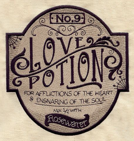 Love potion apothecary label urban threads unique and awesome embroidery designs