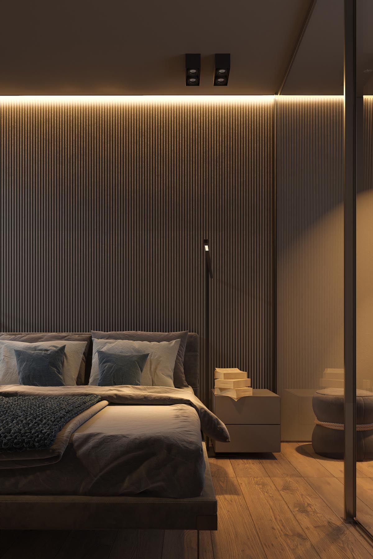 Dark Grey Home Decor With Warm Led Lighting Modern Bedroom Grey Home Decor Bedroom Design
