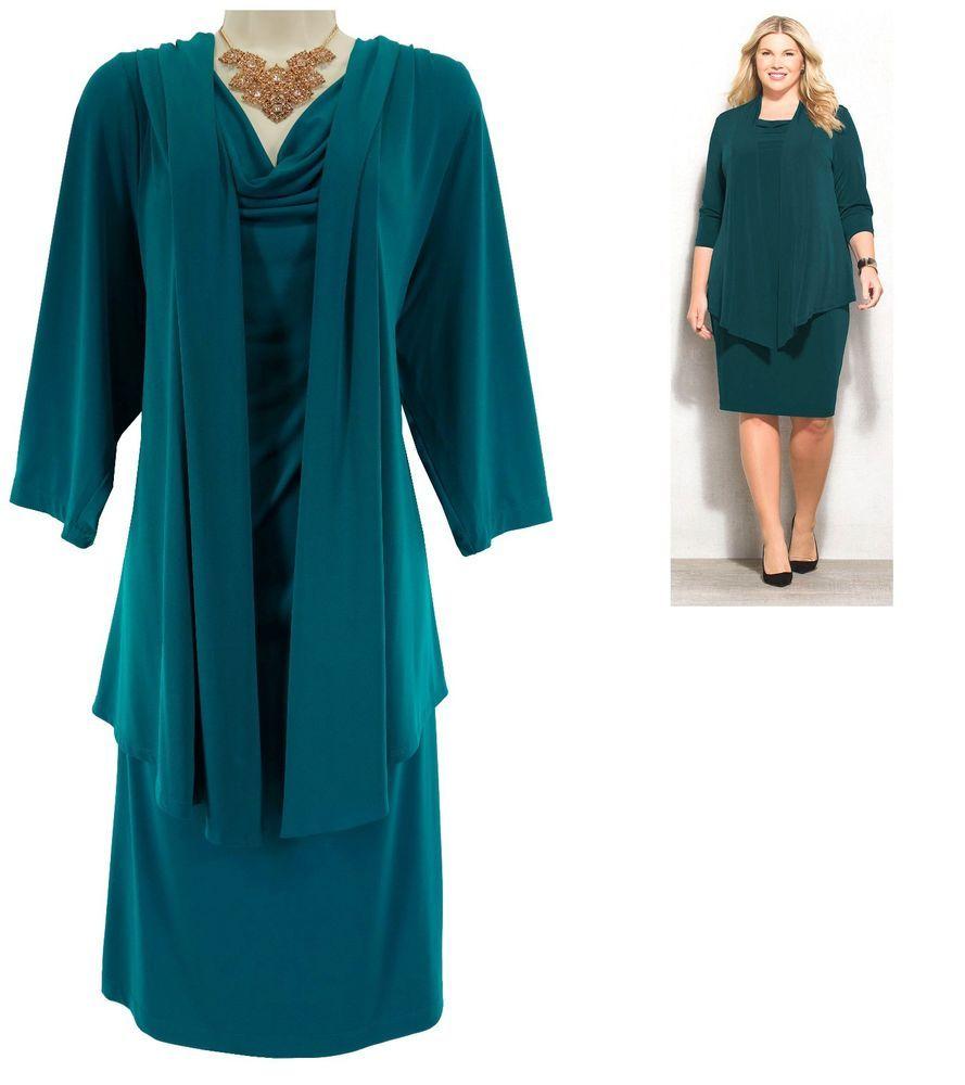 24W 3X Womens ONE-PIECE GREEN JACKET DRESS Evening Special ...