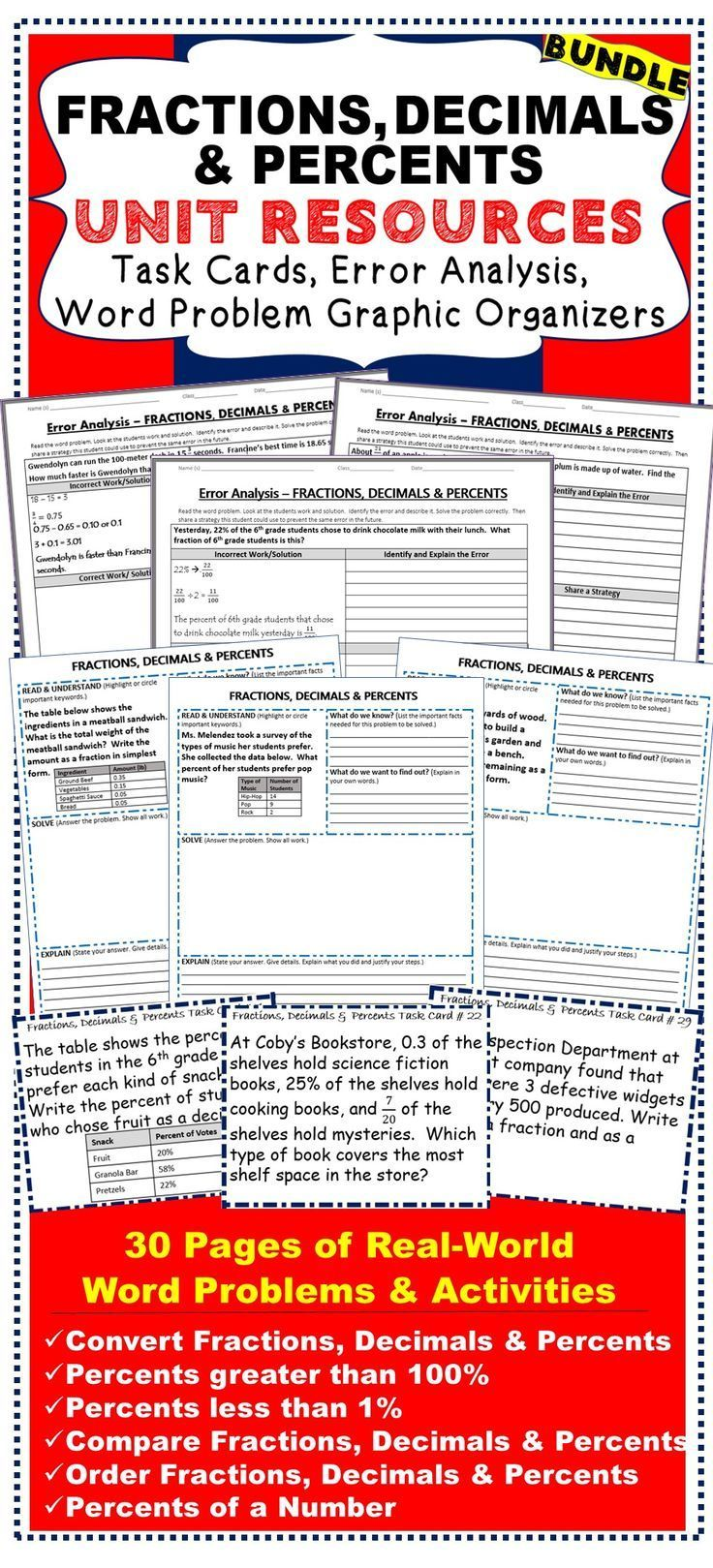FRACTIONS, DECIMALS, PERCENTS BUNDLE Task Cards, Error Analysis