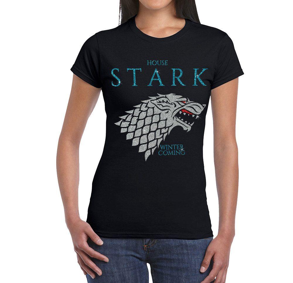 3f235149b Camiseta Mujer juego de Tronos casa Stark Diseño Brillo de  SportShirtFactory en Etsy