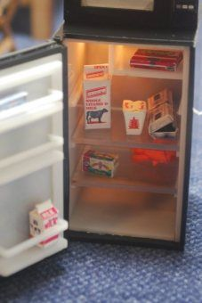 1//6 Refrigerator Fridge Freeze Model for Dolls House Life Scene Decoration
