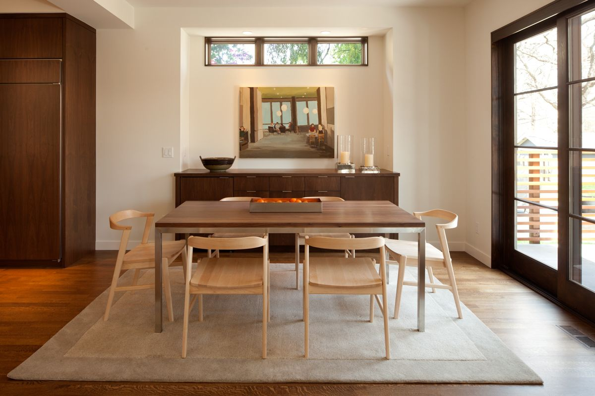 Dining Room   Clerestory Windows And Alcove With Buffet Design Inspirations