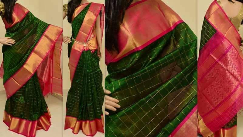 cee901ac70 Dark Green and Pink pure Kuppadam pattu saree with contrast border and pink  zari designed pallu coming with an unstitched blouse.They are handwoven  sarees ...
