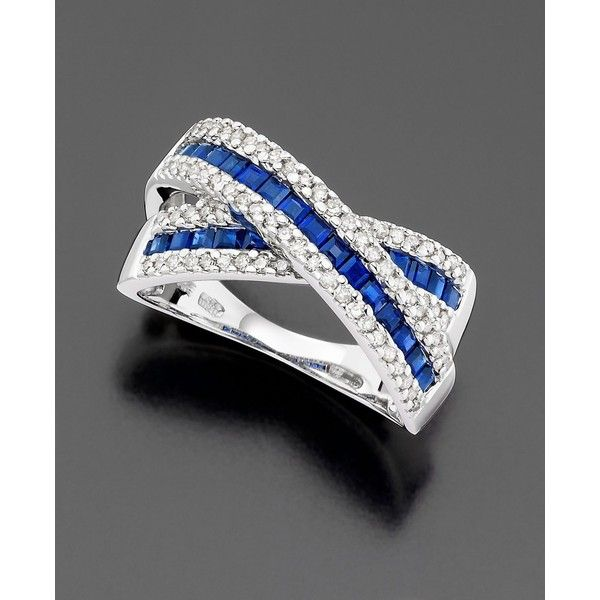 14k White Gold Sapphire (1-1/3 ct. t.w.) & Diamond (3/8 ct. t.w.) ring ($971) ❤ liked on Polyvore