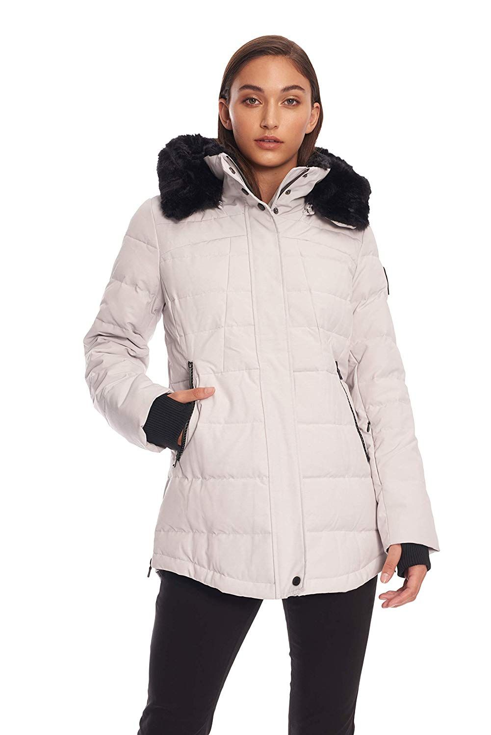 Lucky Brand Womens Short Packable Down Coat with Cinch Detail