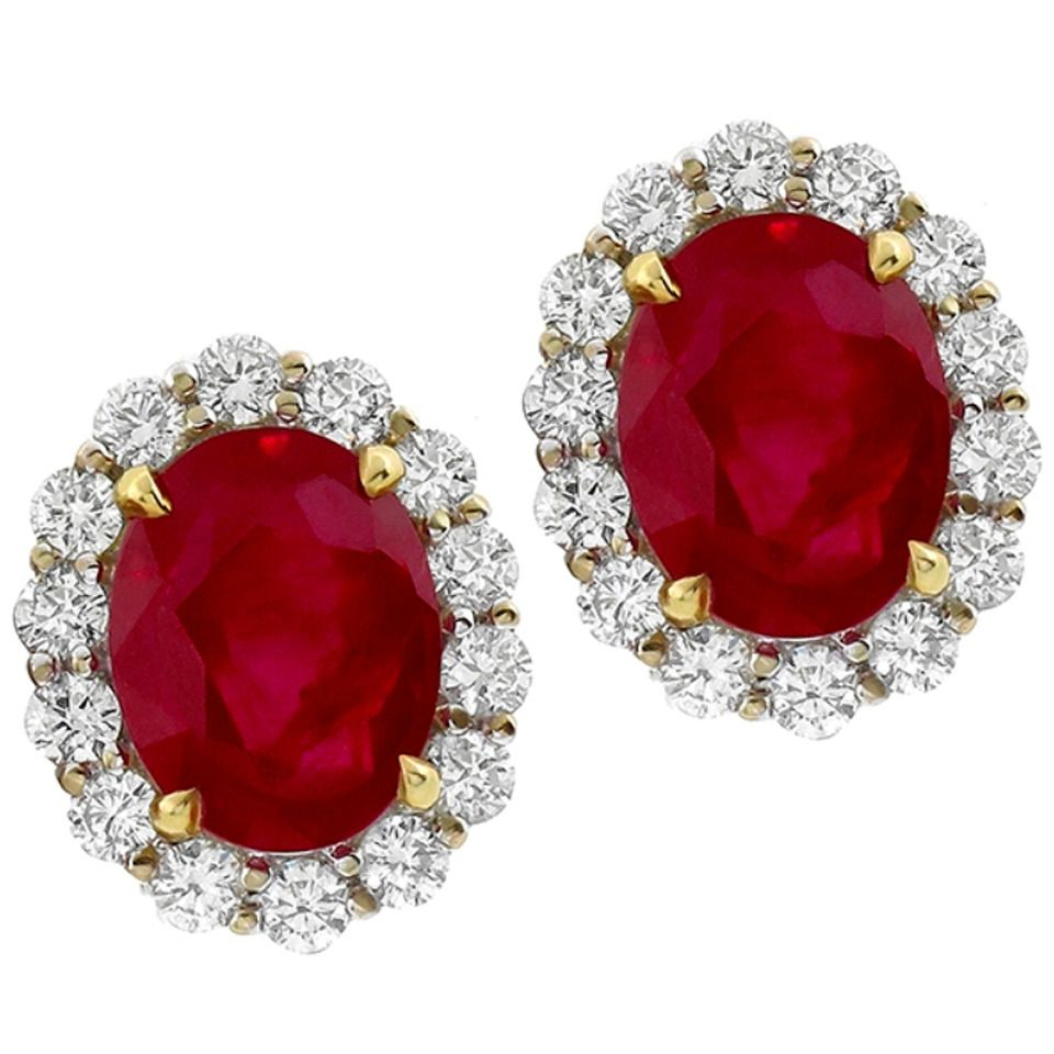 7 37 Carat Natural Burmese Ruby Diamond Gold Earrings From A Unique Collection Of Vintage Clip
