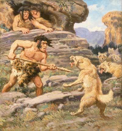 Neanderthal Man Defending Family Against Wolves  Charles R. Knight