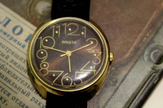 Brown dial watches Raketa mechanical watches Russian by CommonGift