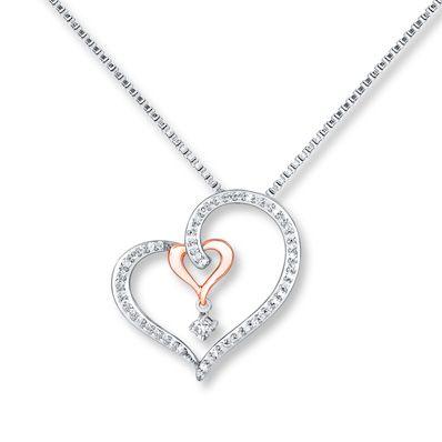10k Yellow Gold Black Diamond Framed Heart Pendant 1//5 ct