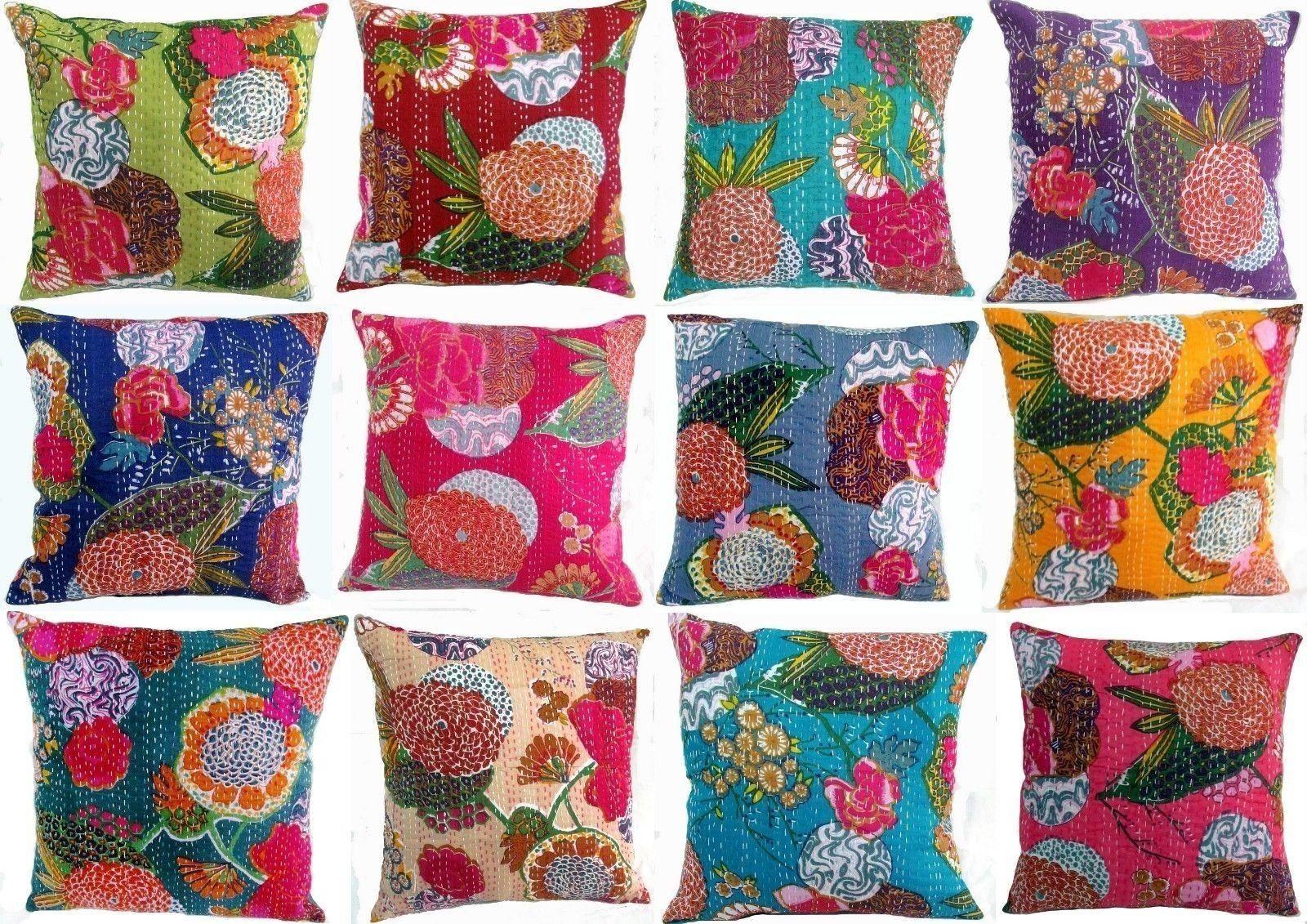 10 Pcs Hand Made Fruit Print Cotton Fabric Kantha Cushion Cover