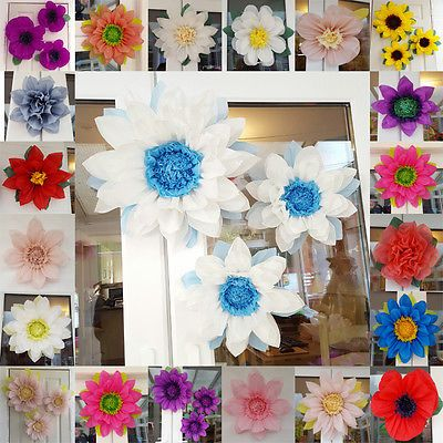 Frozen pom pom paper set 3x tissue paper flowers wedding centerpiece ...