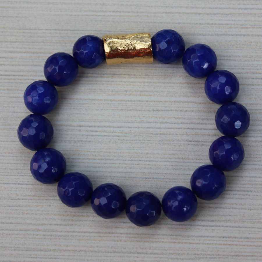 Women Bracelet Royal Blue Bracelet with Gold Barrel Charm