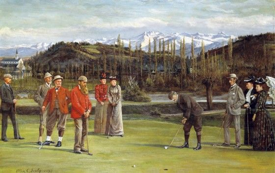 """""""The Putt of Monsieur Horner"""", a view of Pau Golf Club, Europe's first, in1983. Gorgeous Gascony's many courses are a pleasure  to play"""