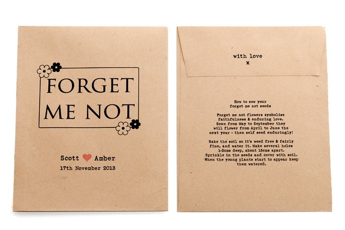 Forget Me Not Personalised Seed Packet Favour Favors Wedding