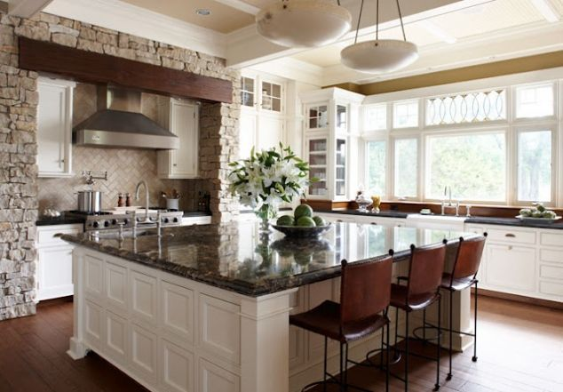 large island kitchens | Wonderful large square kitchen ...