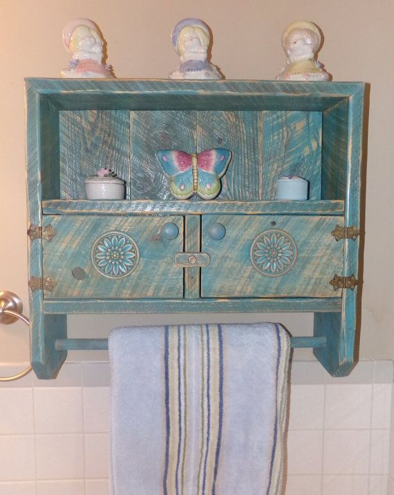 Unique Rustic Distressed Shabby Chic Bathroom Cabinet Shelf Towel Rack
